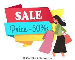 va, girl, acheteur, cinquante, mains, cintre, cent, elle, pendant, robe, shopping., escompte