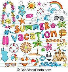 vacances été, hawaien, doodles