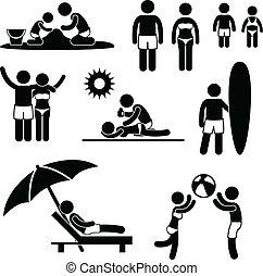 vacances été, plage, famille, loisir