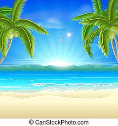 vacances été, plage, fond