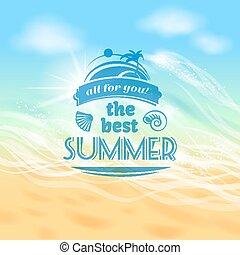 vacances été, vacances, fond, affiche