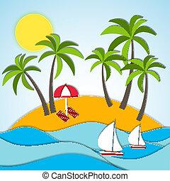 vacances, été, vecteur, illustration