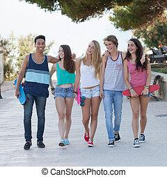 vacances, adolescents, divers, groupe