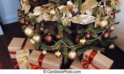 vacances, arbre, doré, décoration, boîtes, cadeau, style, décor, maison pays, noël, emballé, présente