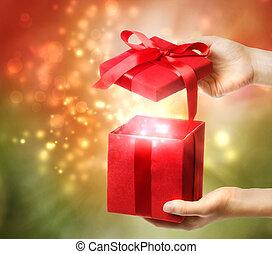 vacances, boîte rouge, cadeau