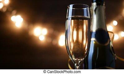 vacances, champagne, métrage, clignotant, arrière-plan., bokeh, 4k, grillage