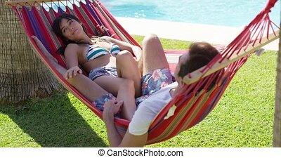 vacances, couple, hamac, jeune, délassant