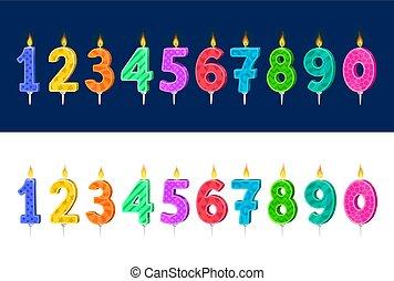 vacances, dessin animé, anniversaire, vecteur, gâteau, bougies