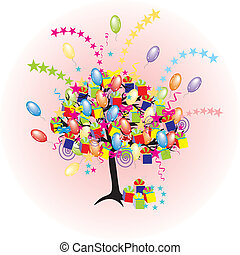 vacances, fête, baloons, événement, dessin animé, arbre, heureux, giftes, boîtes