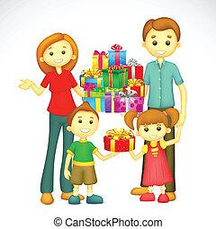 vacances, famille, cadeau