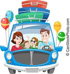 vacances, famille, illustration