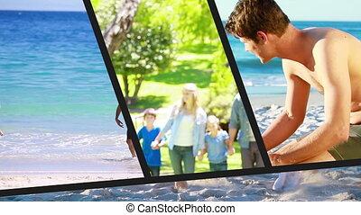 vacances, famille, montage