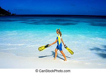 vacances, femme, été