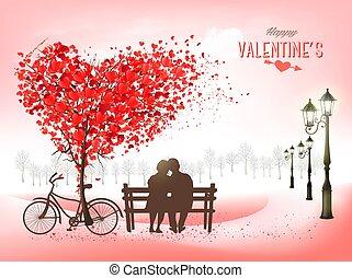 vacances, feuilles, fond, valentine, amour, vecteur, bench., forme coeur, love., concept, couple, jour, arbre