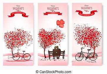 vacances, forme, arbres., bannières, valentine, amour, vecteur, coeur, love., concept, couple, jour, banc