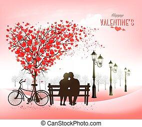 vacances, forme, fond, valentine, amour, vecteur, coeur, love., concept, couple, jour, arbre., banc