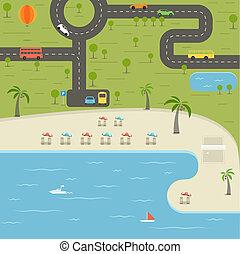 vacances plage, illustration, été, saison
