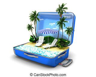 vacances plage, paquet