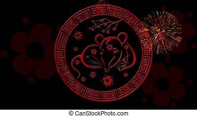 vacances, printemps, magique, scintillement, nuit, lunaire, noir, animation., chinois, boucle, rendre, vidéo, festival, rat, sakura, toile de fond, événement, simbol, année, nouveau, fond, 4k, année, 3d, seamless, fireworks.