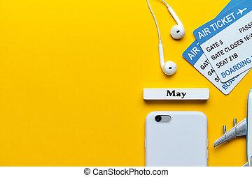 vacances, space., avion, fond, billets, modèle, suivant, concept, mai, jaune, copie