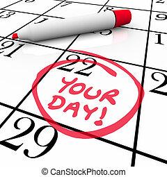 vacances, ton, mots, entouré, date, calendrier, vacances, jour, spécial
