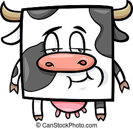 vache, carrée, dessin animé, illustration