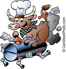 vache, chef cuistot, baril, équitation, barbecue
