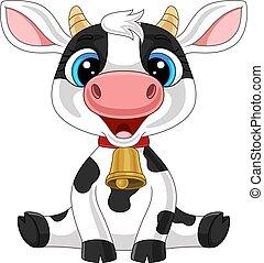 vache, dessin animé, mignon, séance bébé