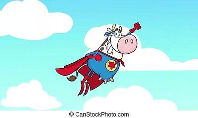 vache, héros, caractère, super, voler, dessin animé