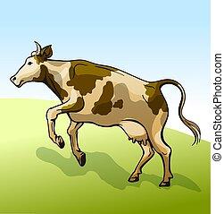 vache, pré, sauter, ciel, fond