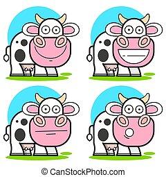 vache, pré, vecteur, -, isolé, illustration, ensemble