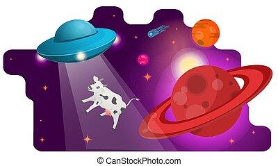 vache, volé, soucoupe, illustration, passé, concept, voler, vecteur, anneaux, plat, planète, conception, espace, ovnis