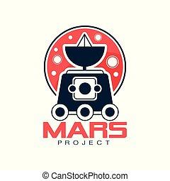 vagabond, style, emblème, scientifique, espace, résumé, expedition., satellite, vecteur, exploration, appareil-photo., mars, logo, ligne, planète, colonization., rouges, explorateur