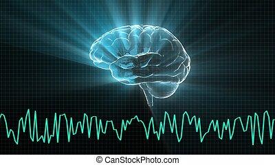 vague cerveau, cristal, graphique