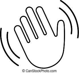 vague, icône, bonjour, main