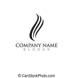 vague, illustration, cheveux, logo, icône