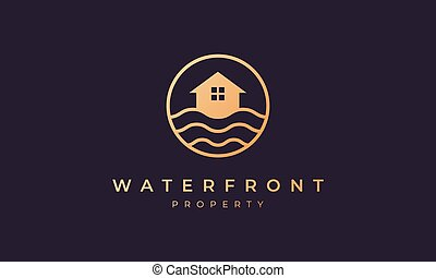 vague, ligne, océan, cercle, or, maison, forme, agence, immobiliers, logo
