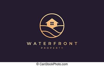 vague, ligne, océan, cercle, or, maison, forme, immobiliers, logo