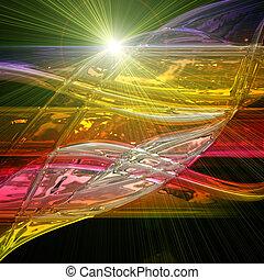 vague, lumières, conception, fond, technologie, futuriste