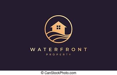 vague, or, ligne, cercle, villa, océan, maison, forme, logo