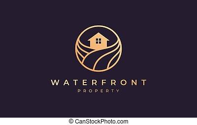vague, or, océan, cercle, ligne, maison, forme, appartement, logo