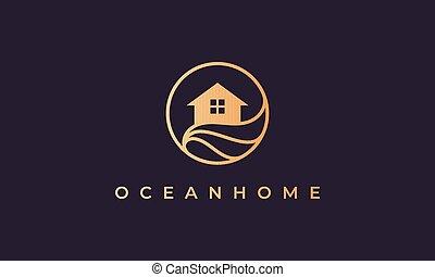 vague, or, océan, cercle, ligne, maison, forme, maison, logo