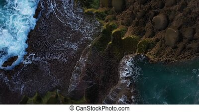 vagues, affleurement, être, bas, calcaire, vue aérienne, rotation, océan, oiseau, lavé, oeil