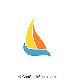 vagues, bleu, symbole, bateau, mouvement, voile, conception, vecteur, logo