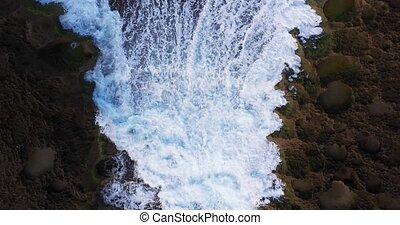 vagues, descendre, affleurement, être, calcaire, vue aérienne, océan, oiseau, lavé, oeil