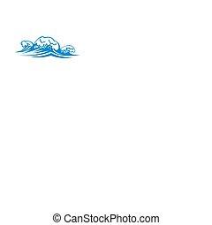 vagues, eau, irrigation, isolé, mer