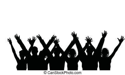 vagues, groupe, gens, mains