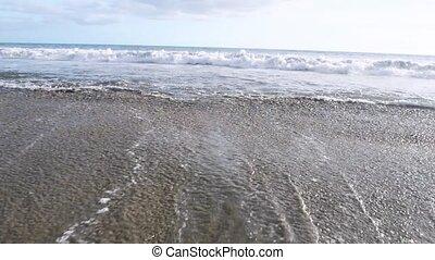 vagues, océan, bleu, surfer, plage tropicale