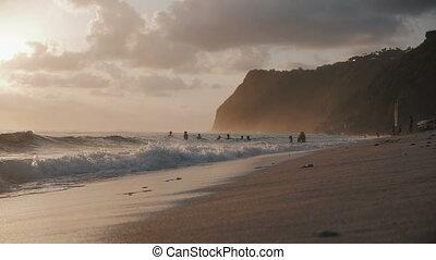 vagues, océan, exotique, surprenant, paradis, plage, sunset.
