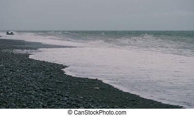 vagues, orage, océan